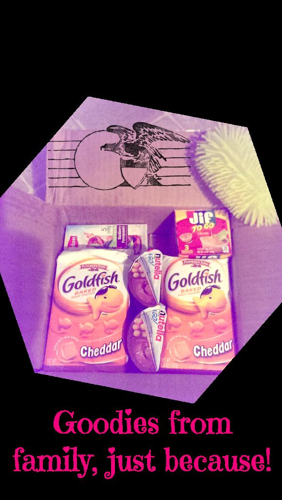 goodies, goldfish, nutella, jif peanut butter, drink mix, food, snacks