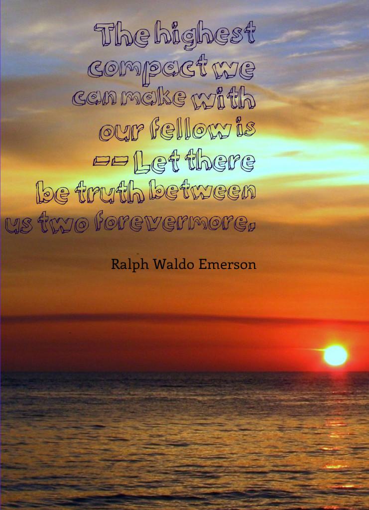 sunset, beautiful sunset, sunset over ocean, orange sunset, quote, trust, ralph waldo emerson quote