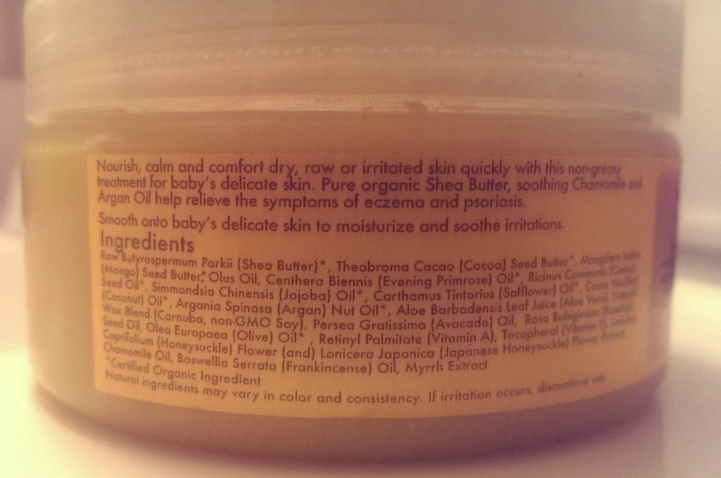 back of jar, shea moisture, eczema treatment, organic oils, rememdy, eczema, natural, all natural, healing, calming