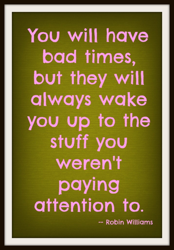 robin williams, robin williams quote, bad times,pay attention