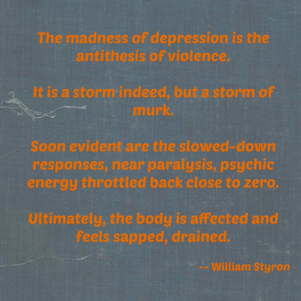 depression, quote, depression quote, william styron, madness, hopelessness,