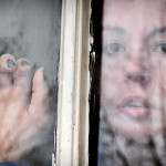 depression, window, looking out, woman, rain